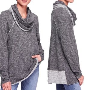 Free People Beach Cowl Heathered Knit Swing Top